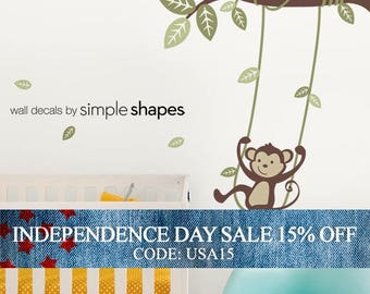 Independence Day Sale - Monkey on a Swing Wall Decal - Kids Vinyl Wall Sticker Decal Set - Swinging Monkey - Kids Wall Decal - Nursery
