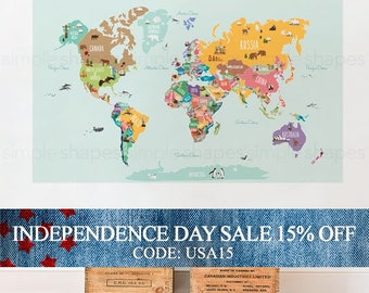 Independence Day Sale - World Map Decal, Countries of the World Map, Kids Country World Map Poster,  Peel and Stick  Poster Sticker, World