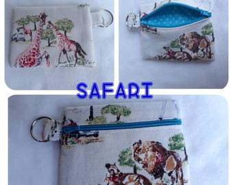 CATH KIDSTON Safari print fabric Zippered (Zipped) Earphone (Ear bud) pouch/ Coin Purse Make Up, small brushes, Gift Keyring handbag tidy