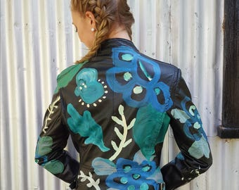 hand painted, black leather, moto jacket. women's size 12-14