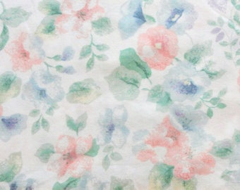 Vintage full/double bed sheet, pink blue green floral bedding, vintage fabric 1970s bed linens, country cottage flowers, repurpose crafting