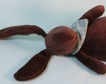 Jack and Jill Bunnies -Dark Chocolate with Blue Plaid Scarf