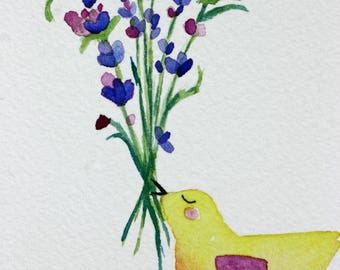 Original bird with lavender watercolor, yellow and purple, children's, nursery art, whimsical, kitchen art, matted, bird with flowers