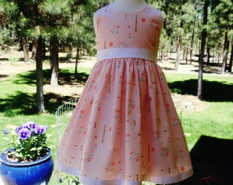 SALE Girls Dress, Girls Pink Gold Metallic Arrow Accents Dress, Size 3T, Ready to Ship, Special Occasion Dress by Hopscotch Avenue