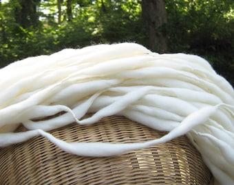 Handspun yarn, 50 yards, 3.5 ounces/ 100 grams, super bulky, spun thick and thin in natural cream merino wool