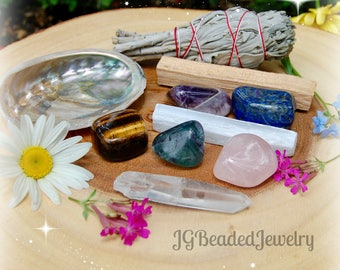 Smudge Crystal Healing Cleansing Set, Sage Palo Santo Abalone Fluorite Amethyst Rose Quartz Clear Quartz Selenite Lapis Lazuli Tiger Eye Kit