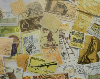25 Yellow postage stamps, Gold Stamps, Vintage stamps, Postage Stamps, Antique Stamps, Craft Stamps