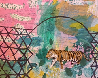 Original Acrylic Painting Of A Tiger 18x24 Inches On Canvas