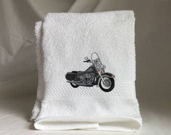 Harley-Davidson motorcycle embroidered on white hand towel