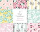 1940s FLORALS Themed Patterned Backgrounds set-instant download-for personal use -digital papers, feed sack, vintage, bando, happy planner