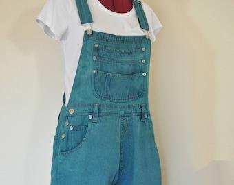"Green Medium Bib OVERALL Shorts - Emerald Green Dyed Upcycled Northwest Blue Cotton Denim Shortalls - Adult Women's Medium (34"" Waist)"
