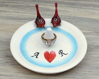 Ring stand, engagement ring dish, wedding ring holder, anniversary gift, bird lovers, cardinals