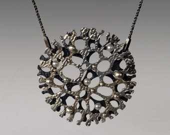 Radiolaria Silver and Pearls Oxidized Necklace