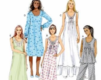 Ladies Nightgown Pattern, Ladies Pajama's Pattern, Butterick Sewing Pattern 5792