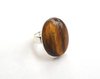 Tigers Eye Ring, Antiqued Silver Plated Setting, Shimmering Striped Tigers Eye Cabochon, Gemstone Ring, Adjustable Ring, Bold Statement Ring