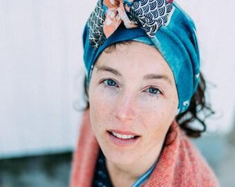 "Headband scarf linen & cotton Nani Iro ""cloudy"" floral linen"
