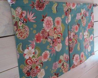 "Noren Japanese cotton flowers ""sakura and peonies"" sea green, turquoise"