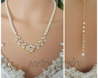 Gold Bridal Back Necklace, Bridal Backdrop Necklace, Crystal and Pearl Wedding Necklace, Wedding Back Drop Gold Bridal Jewelry, Nicole
