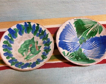 Vintage Mexican Pottery Bowls, Tlaquepaque Blue & Green Hand painted