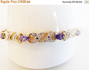 ON SALE Vintage Genuine Amethyst and Sterling Bracelet