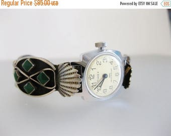 ON SALE Pretty Vintage Southwest Navajo Sterling Turquoise Watch Band