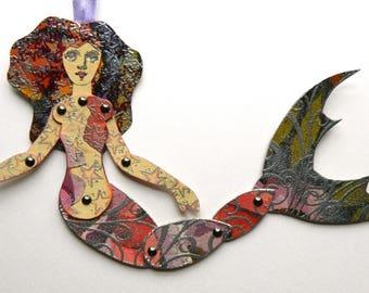 Jointed Mermaid, Mermaid Paper Art Doll, Art Doll, Articulated Paper Doll,  Floral mermaid, Mermaid Puppet, Mermaid Gift, Mermaid Paperdoll