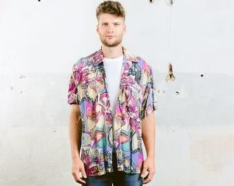 Men Summer Shirt . Bold Beach Shirt Abstract Pattern Shirt Vintage 90s Short Sleeves Boyfriend Man Gift Oversized Shirt . size Extra Large