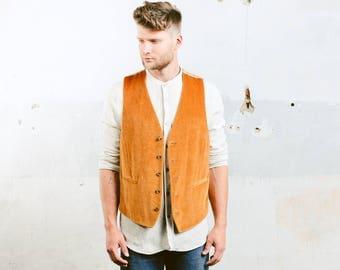 Velvet Vest . Mens Waistcoat Vintage 70s Hippie Groom Wedding Sleeveless Jacket Brown 1980s Vest . size Large