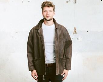 Indiana Jones Jacket . Leather Jacket Mens Brown Vintage Western Coat 1980s Outerwear 70s Oversized Jacket . size Extra Large XL
