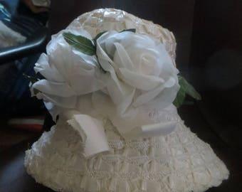 vintage womens 60s white straw w silk flowers bucket hat