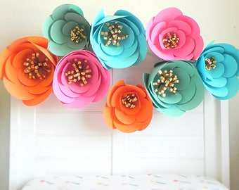 Large Paper Flowers, Giant Paper Flowers, Paper Flower Wall, Tropical Wedding Decor, Fiesta Paper Flowers, Flower Backdrop, Kate Spade Baby