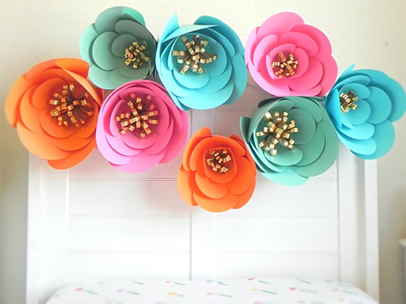 Colorful paper flower wall decor giant paper flowers large paper il570xn mightylinksfo