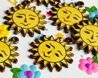 Vintage Charms,Sun Charms,Smiley Face Charms,Smiling Sun Charms,Enamel Charms,Copper Charms,Yellow Charms, vintagerosefindings, G46G