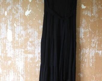 SUMMER SALE vintage. 70s Sleeveless Black Maxi Dress // S to M