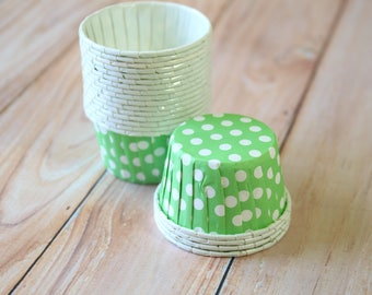 Lime Green Polka Dot paper Candy Cups cupcake liner