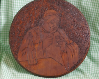 Antique Pyrography Plaque, Monk with Wine, Signed Victorian Edwardian Era Wood Burning Picture, Wooden Wall Decor