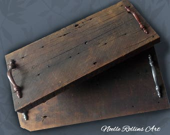 Salvaged Barnwood Tray with handles choice of sizes with copper or silver toned handles