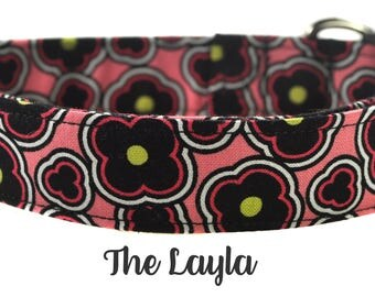 Pink and Black Floral Dog Collar - The Layla