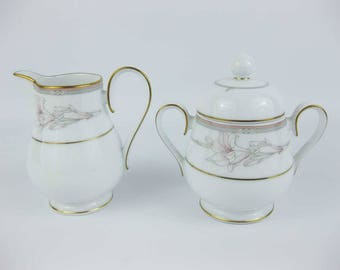 Noritake Jenna Creamer & Covered Sugar Bowl Set Pattern #3760