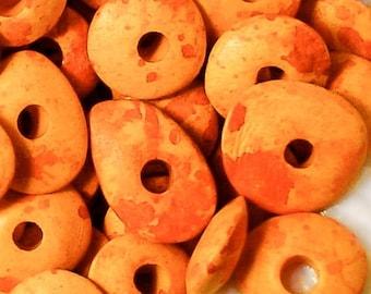 25%OFF 10 Mykonos Greek Ceramic Cornflake Beads Chips Disc 13mm Speckled Yellow Orange Red Bead Disk Jewelry making craft supplies DIY