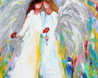 Angel Hugs painting in oil palette knife impressionism on canvas 16x20 fine art by Karen Tarlton