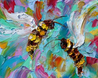 Bee Happy painting Original oil abstract palette knife impressionism on canvas fine art by Karen Tarlton