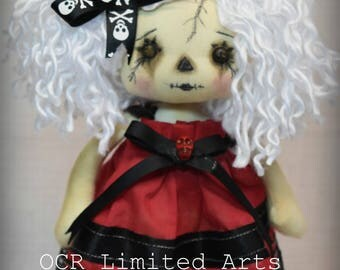 Gothic doll LOTUS rag Goth Tattered spooky skull emo collectible creepy cute Stitches Broken china gift Handmade Art Doll OOAK