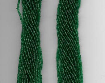 CZECH SEED BEADS - Size 11 - Medium Green - 2 hanks