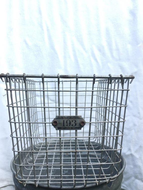Vintage steel locker room or bath house basket, numbered