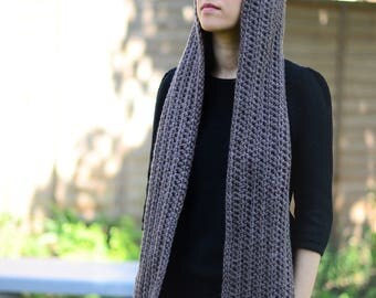 Hooded Scarf Womens Scarf Winter Hooded Scarf Crochet Scarf Long Scarf Winter Accessories Brown