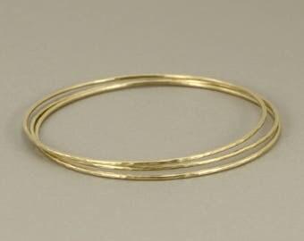Gold hammered bangle bracelets 10K yellow gold skinny stackable, matte finish simple everyday minimal gold bracelets- set of 3
