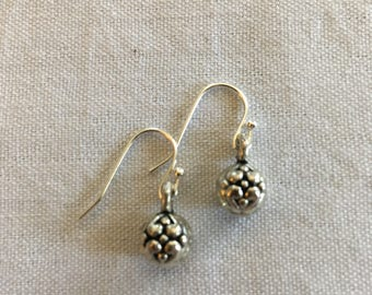 Antiqued geometric ball earrings