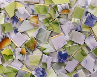 150 Purple and Green Vintage China Tiles//Broken Dish Mosaic Tiles//Mosaic Supplies//Mosaic//Craft Supplies