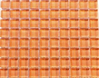 100 (10mm) Peach MINI Crystal Glass Mosaic Tiles 3/8 in.//Mosaics/ Mosaic Supplies//Crafts